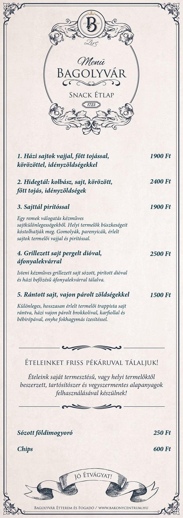 magyar snack étlap